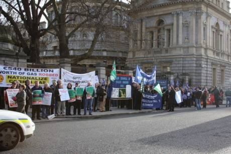 Dublin Council of Trade Unions protest for Budget day at the Dail