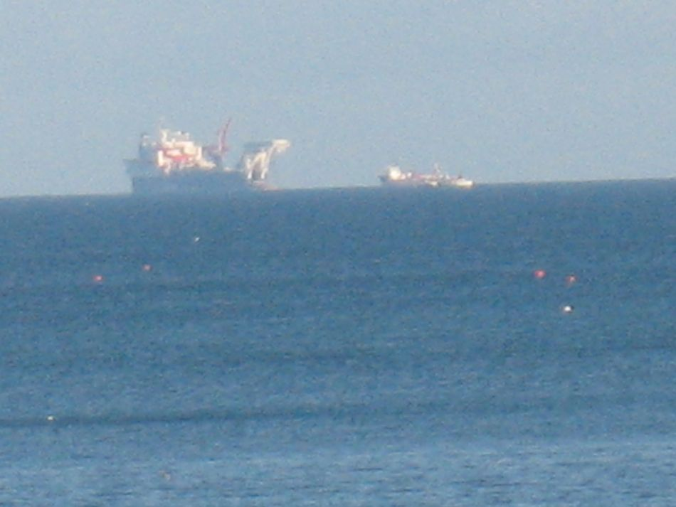 Solitaire Shells' pipe layingship off Broadhaven bay, Mayo