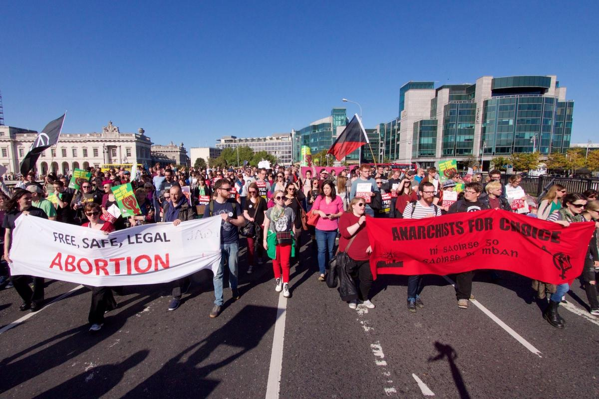 Pro Choice march at the Customs House in Dublin - Photo by Andrew Flood