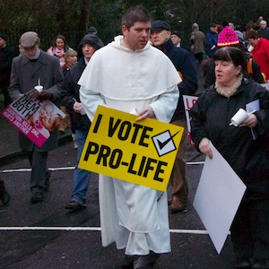I Vote Pro Life priest in Dublin