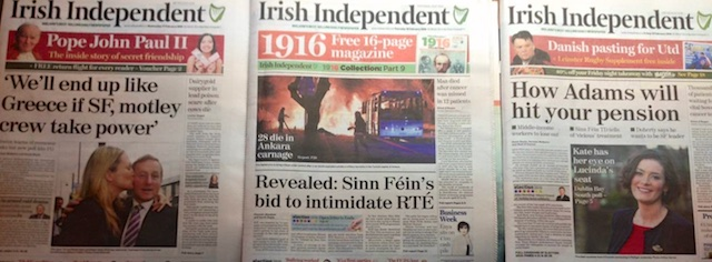 Independent ran three front page stories in sequence aimed at frightening people out of voting for Sinn Fein