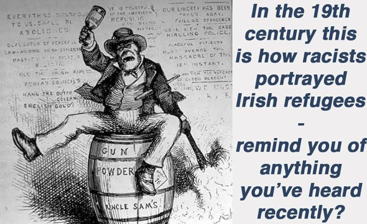Cartoon showing racism against Irish Refugees during famine - simian featured refugee with whisky bottle and flaming brand on top if barrel of Gunpowder
