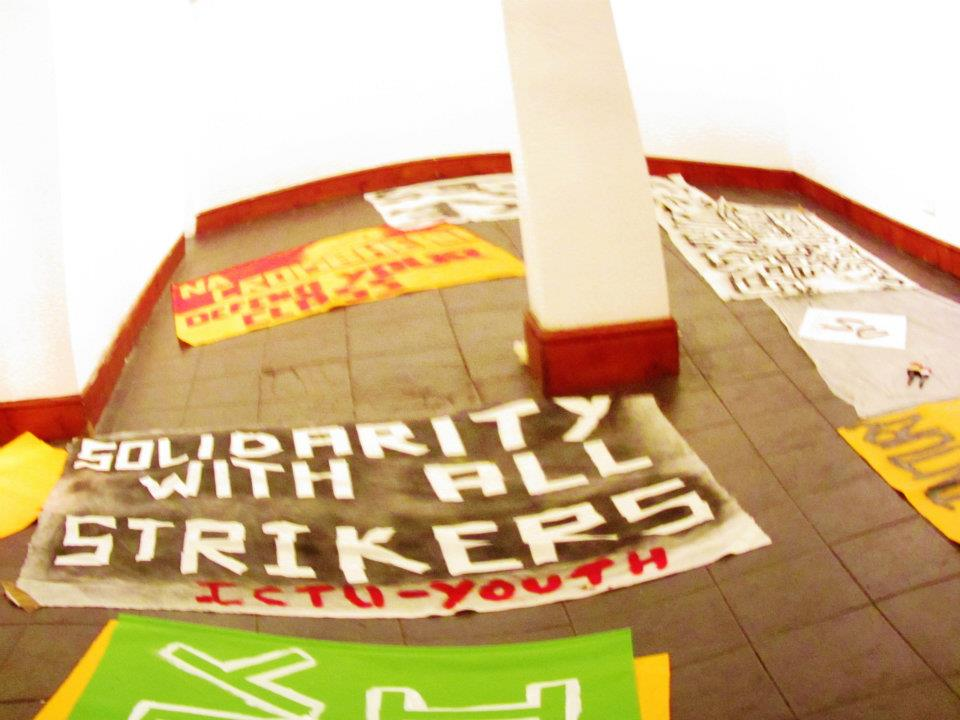 Banner making for the 30th Nov public sector strike