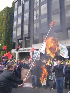 Sean Fitzbatrick burnt outside Anglo Irish